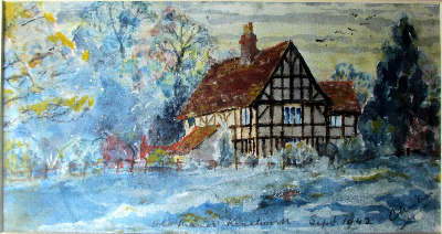 The Old Manor Kenilworth, watercolour on paper, signed C Milner Sept. 1942.