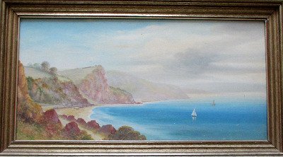 Oddicombe Bay near Torquay, South Devon, gouache on paper, signed Garman Mo