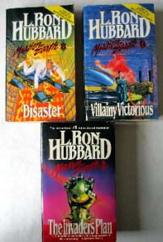 Mission Earth, The Invaders Plan Vol 1, Disaster Vol 8, Villainy Victorious Vol 9, by L. Ron Hubbard. Bridge Publications Inc., L.A.. 1st Paperback Ed