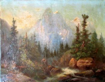 Rosenlaui Glacier and Wetterhorn, oil on canvas, signed F. Sommer (Ferdinand Sommer). c1860.