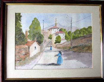 Italian Nunnery Scene, watercolour on paper, signed Barrie Middleton. c1980.
