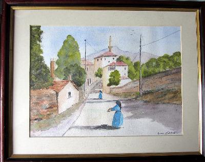Italian Nunnery Scene, watercolour on paper, signed Barrrie Middleton. c198