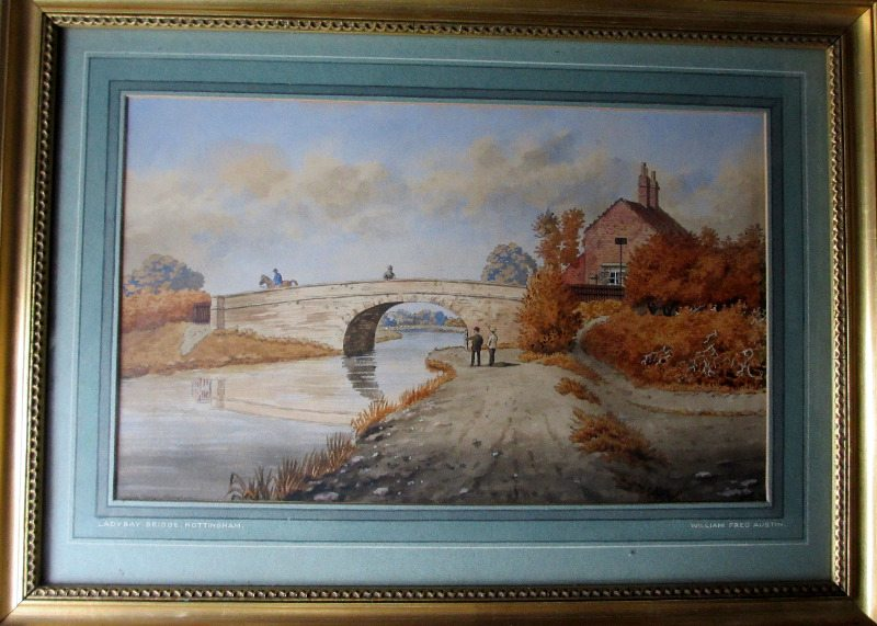 The Old Bridge, Lady Bay, Nottingham, watercolour, pen and ink on paper, signed Wm. Fred Austin, c1870.