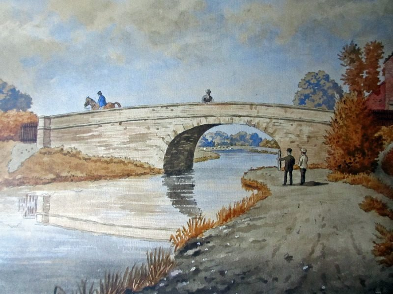 The Old Bridge, Lady Bay, Nottingham, watercolour, pen and ink on paper, signed Wm. Fred Austin, c1870. Detail.