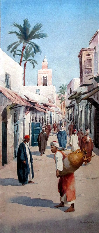 Egyptian Street Scene with Water-carrier, watercolour on paper pasted to acid-board, signed Giovanni Barbaro. c1900.
