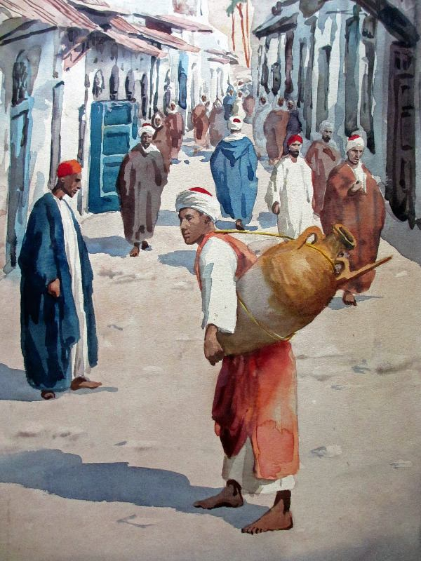 Egyptian Street Scene with Water-carrier, watercolour on paper pasted to acid-board, signed Giovanni Barbaro. c1900. Detail.