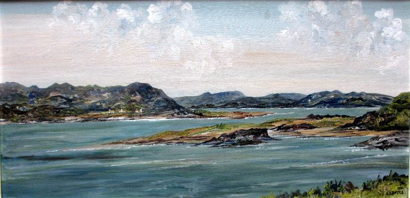 Mulroy Bay, Co. Donegal, Ireland, oil on board, signed E.I. Bryce. c1970.