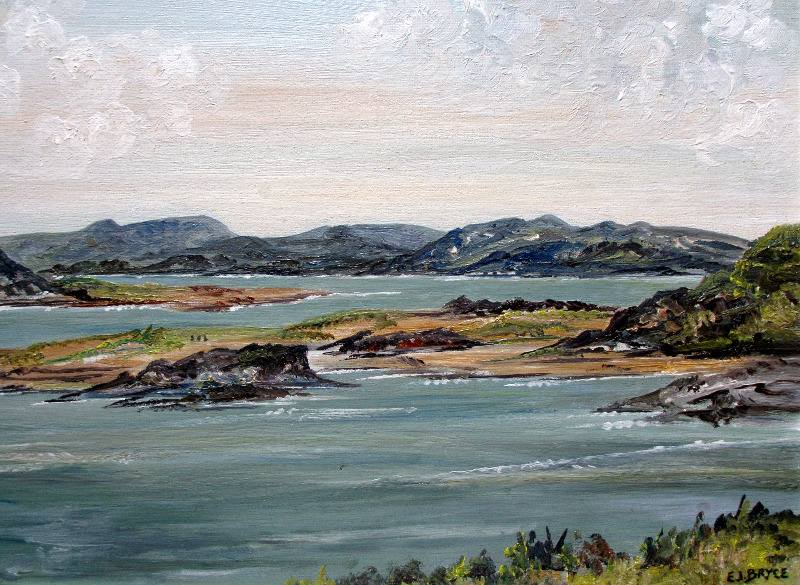 Mulroy Bay, Co. Donegal, Ireland, oil on board, signed E.I. Bryce. c1970. Detail.