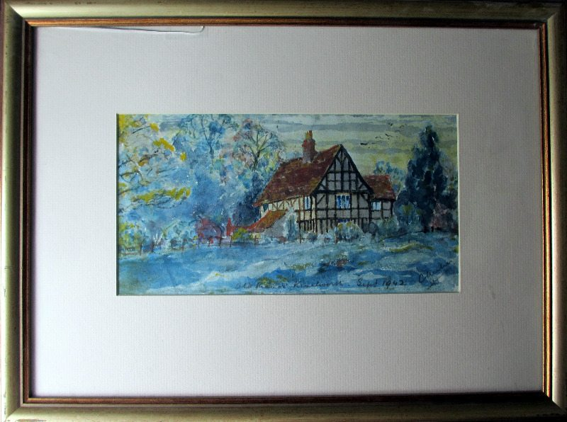 The Old Manor, Kenilworth, watercolour on paper, signed Chrilmer, Sept. 1942.