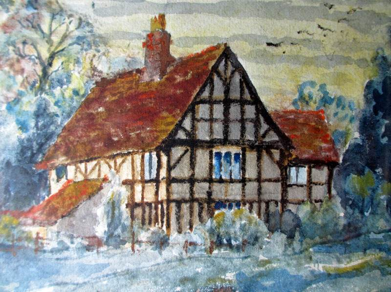 The Old Manor, Kenilworth, watercolour on paper, signed Chrilmer, Sept. 1942. Detail.