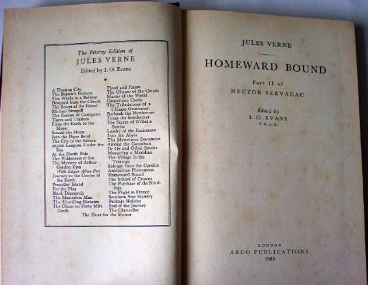 Homeward Bound Part II H. Servadac by Jules Verne. Arco Publications London 1965.