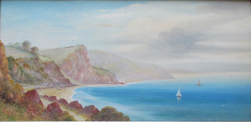 Oddicombe Bay near Torquay, South Devon, gouache on paper, signed Garman Morris. c1900.