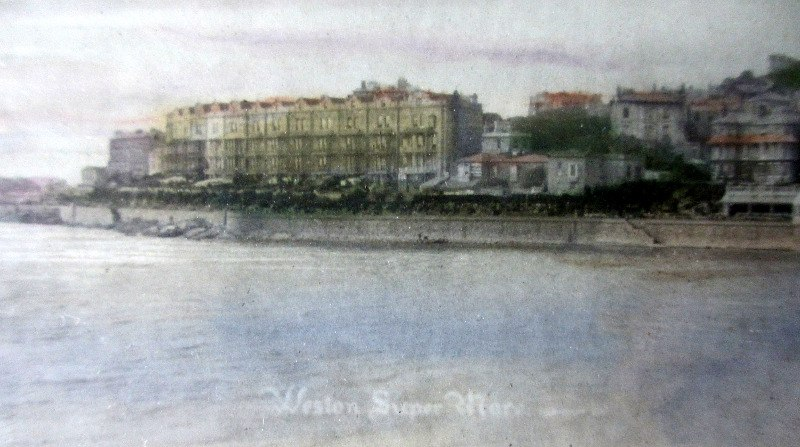Vintage colour tinted photo of Weston-Super-Mare, c1890.