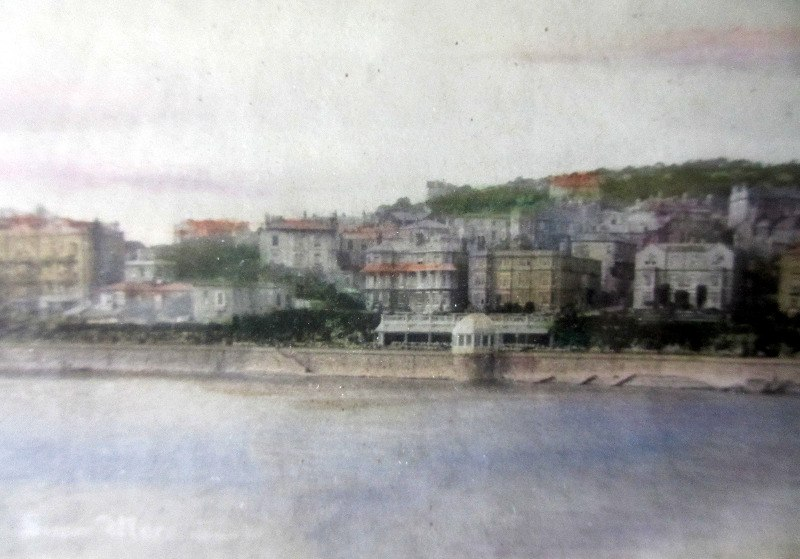 Vintage colour tinted photo of Weston-Super-Mare, c1890. Detail.