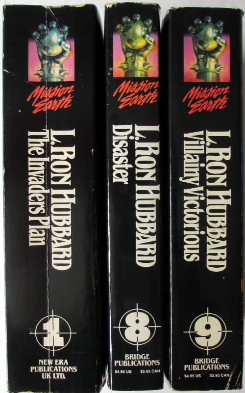 Mission Earth, Vols 1, 8 and 9, L. Ron Hubbard. 1st Editions 1985/87.