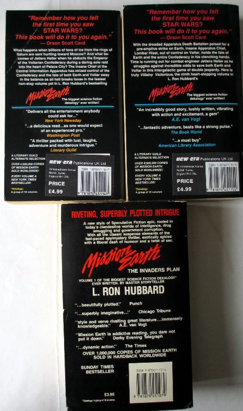Mission Earth, Vols 1, 8 and 9. L. Ron Hubbard. Ist Editions 1985/87. Back covers.