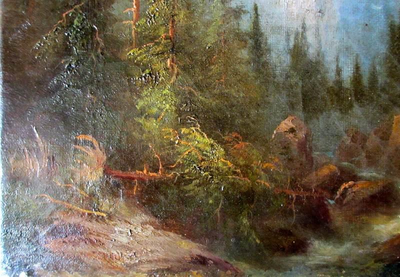 Rosenlaui Glacier and Wetterhorn, oil on canvas, signed F. Sommer, c1860. Detail.