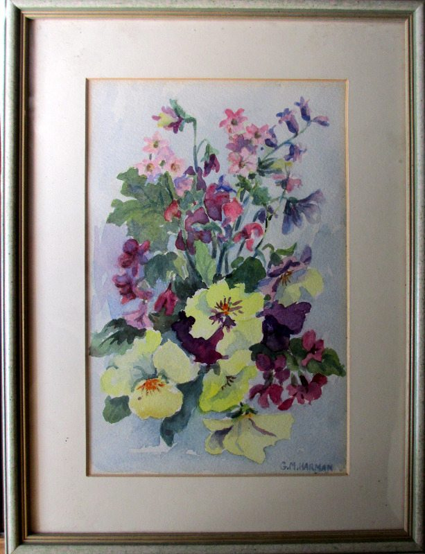 Still-life study of English flowers, watercolour, signed G.M. Harman. c1950.