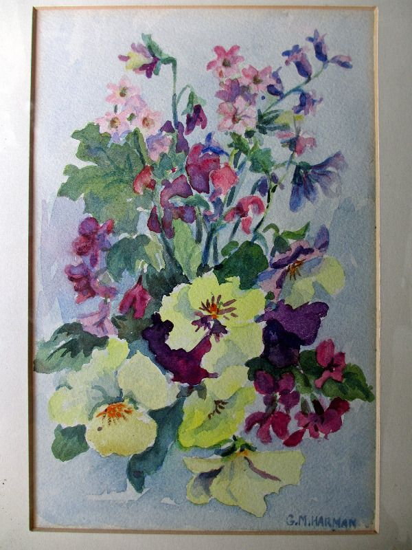 Still-life study of English flowers, watercolour. Signed G.M. Harman. c1950. Detail.