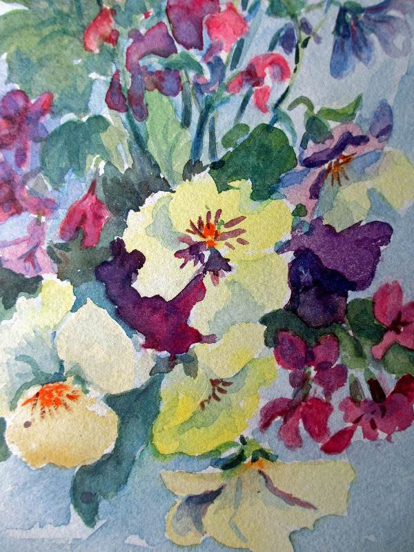 Still-life study of English flowers, watercolour on paper. Signed G.M. Harman. c1950. Detail.