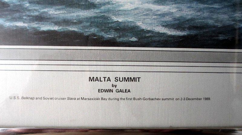 Malta Summit, print of original painting, signed Edwin Galea.