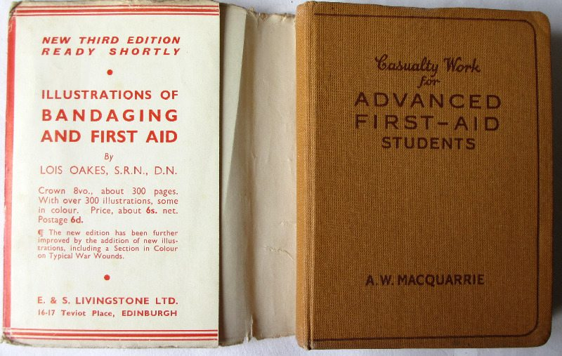 Casualty Work for Advanced First-Aid Students, 1944. Front board and DJ fold.