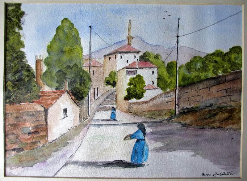 Italian Nunnery Scene, watercolour on paper, signed Barrie Middleton, c1980. Detail.