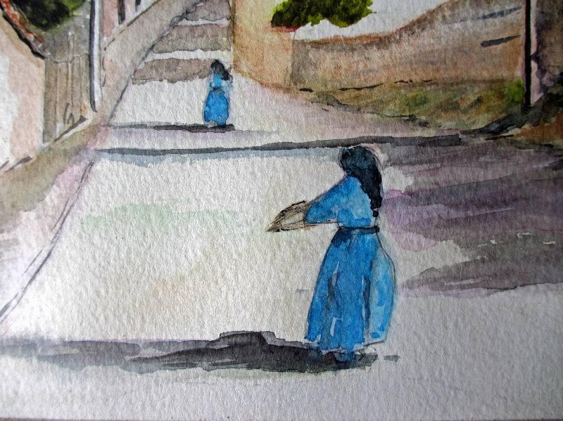 Italian Nunnery Scene, watercolour, signed Barrie MIddleton, c1980. Detail.