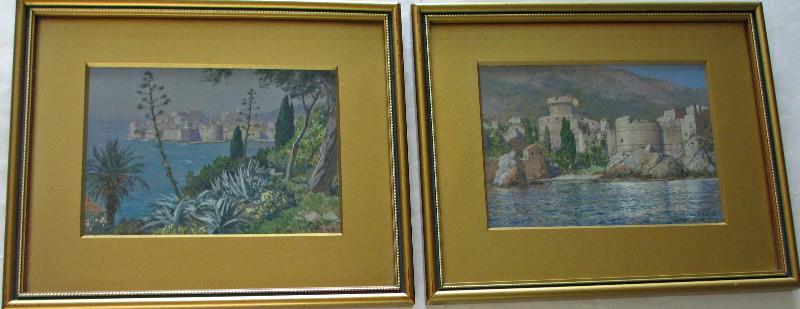 Gruz, Dubrovnik, Croatia, gouache on paper, signed J. Seits, 1926. A pair.