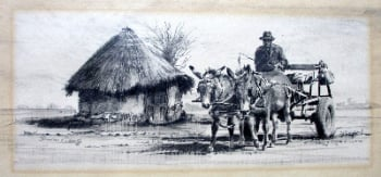 Rural Scene with Donkey Cart, graphite on paper, signed Sebastian Siebert, 1993.