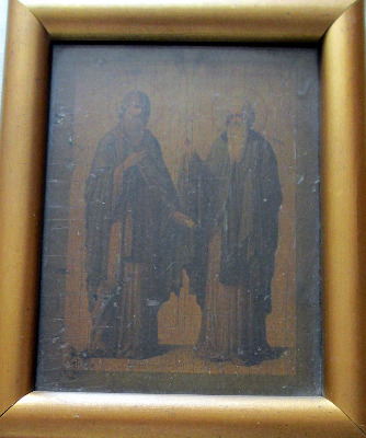 Iconic Study of Two Saints, oil on vellum laid to panel, 19th C Eastern Ort