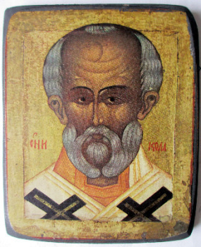 Saint Nicholas Icon, print on board. Russian Orthodox. c1950.   SOLD.