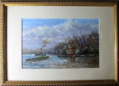 River Thames, Billingsgate, watercolour signed Michael Crawley, c1980.