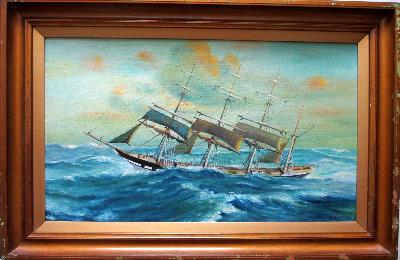 Clipper Ship in Following Sea, oil on board, signed P.E. George. c1950.