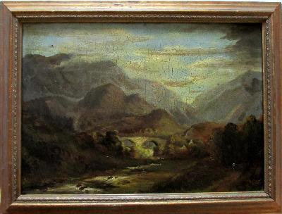 Welsh Landscape with Bridge, oil on board, signed (verso) A. Edwards 1843