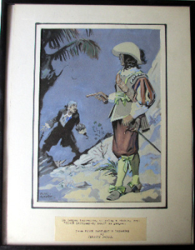 Illustration for Black Bartlemy's Treasure (Jeffery Farnol), gouache on board, by George Blackett. c1960. Framed and glazed.