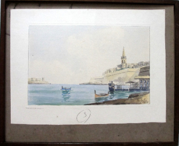 Marsamuxett Harbour, Malta, watercolour on paper, signed Jos. Galea Malta. c1960.  SOLD  25.01.2014.