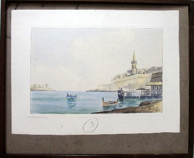 Marsamuxett Harbour, Malta, watercolour on paper, signed Jos. Galea Malta.