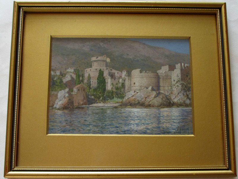 Gruz, Dubrovnik, gouache on paper, signed J. Seits, 1926.