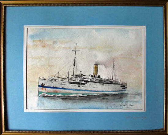 HMT Empire Clyde, pen, ink and watercolour, signed Gordon T. Kell, 1953.