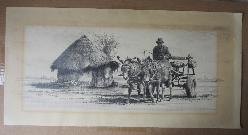 Rural South African study with a donkey cart and rider passing a house, graphite on paper, signed Sebastian Siebert, 93.