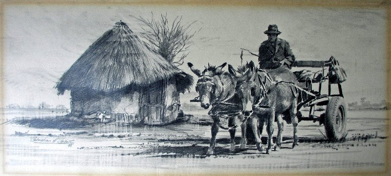 Rural South African scene with donkey cart and rider, graphite on paper, signed Sebastian Siebert, 93.