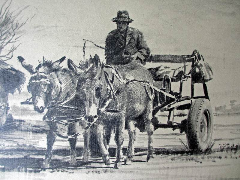 Rural South African scene, graphite on paper, signed Sebastian Siebert, 93.