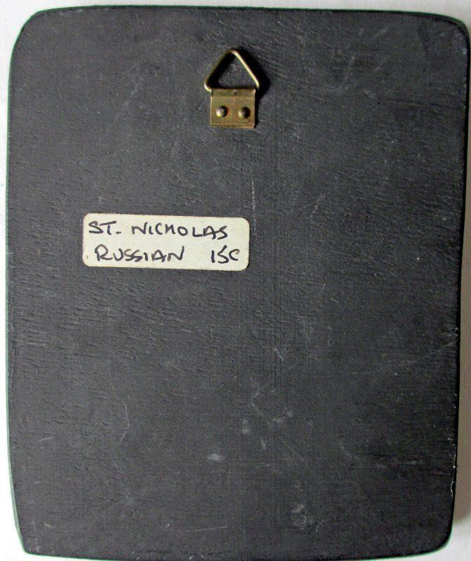 Saint Nicholas Icon, print on board, c1950. Verso.