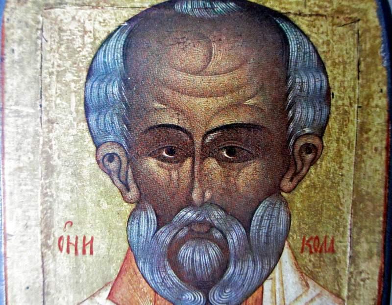 Saint Nicholas Icon, print on board, c1950. Detail.