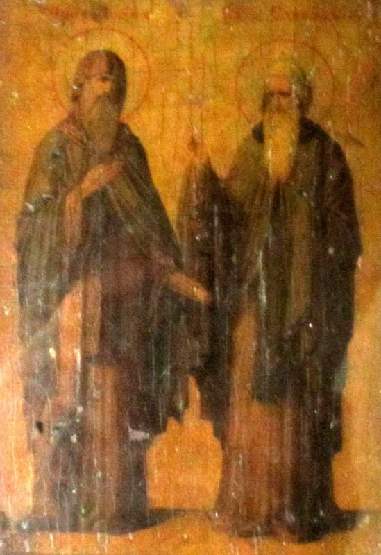Iconic Study of Two Saints, oil on vellum, laid to board,19th C Eastern Orthodox School, c1885. With light to view details.