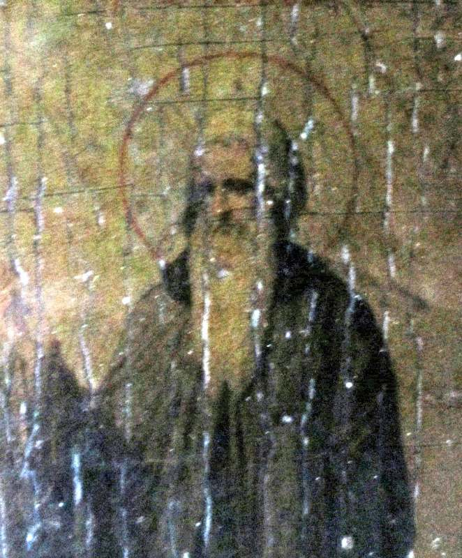 Iconic Study of Two Saints, oil on vellum, laid to board,19th C Eastern Orthodox School, c1885. Detail.