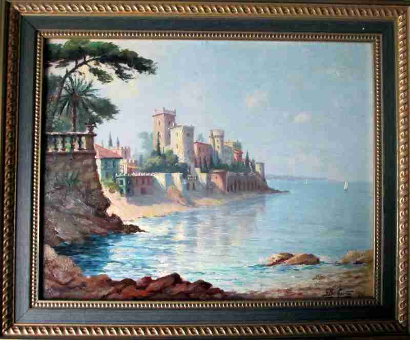 Le Chateau de la Napoule signed G. Baffert. 1949. Oil on board.