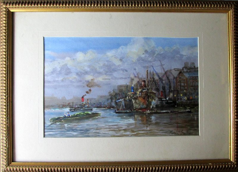 River Thames, Billingsgate, watercolour on paper, signed Michael Crawley, c1980.