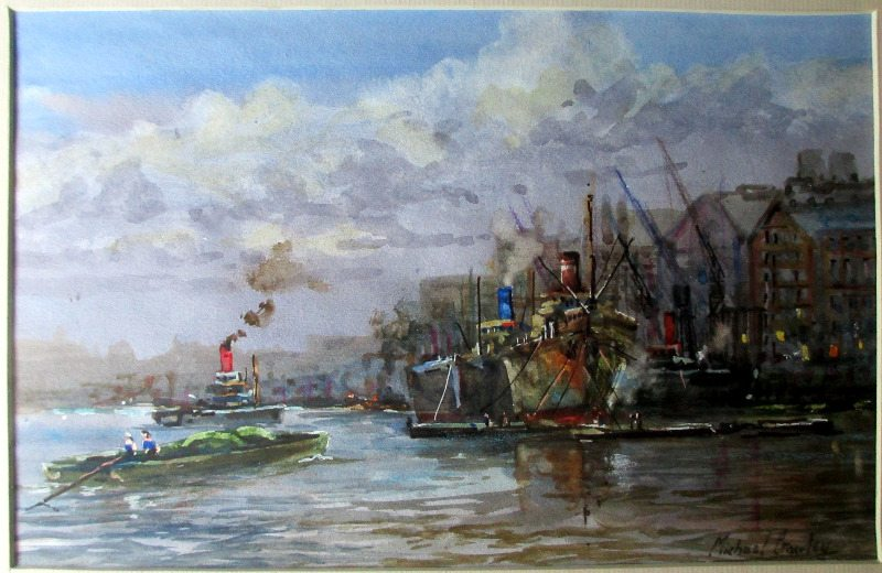 River Thames, Billingsgate, watercolour, signed Michael Crawley, c1980. Detail.